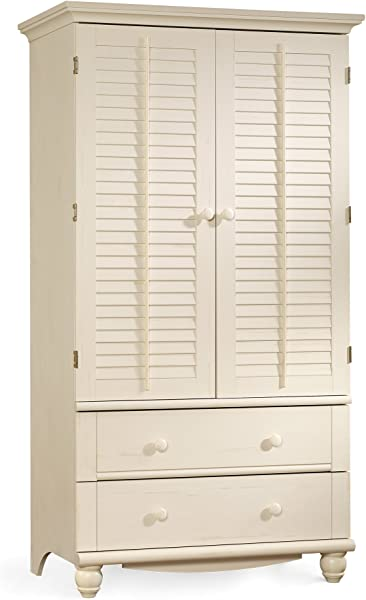 Sauder 158036 Harbor View Armoire For TV S Up To 32 Antiqued White Finish