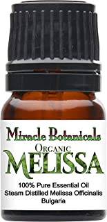 Miracle Botanicals Organic Bulgarian Melissa (Lemonbalm) Essential Oil - 100% Pure Melissa Officinalis - Therapeutic Grade - 2.5ml