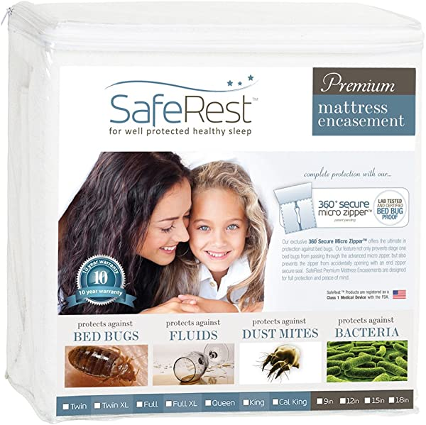 SafeRest Premium Zippered Mattress Encasement Lab Tested Bed Bug Proof Dust Mite And Waterproof Breathable Noiseless And Vinyl Free Fits 9 12 In H Queen Size