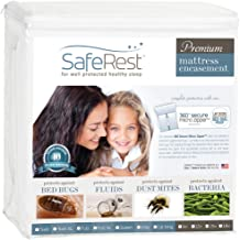 SafeRest Premium Zippered Mattress Encasement - Lab Tested Bed Bug Proof, Dust Mite and Waterproof - Hypoallergenic, Breathable, Noiseless and Vinyl Free (Fits 9-12 in. H) - Full Size