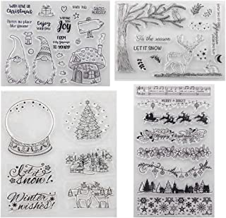 O-Kinee Tampon Noël, Tampons Transparents, Tampons Clear Scrapbooking, Clear Stamp en Silicone, Timbre Silicone Joints Scr...
