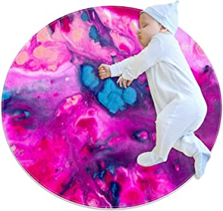 Soft Round Area Rug 100x100cm/39.4x39.4IN Anti-Slip Floor Circle Mats Absorbent Memory Sponge Standing Mat,Abstract Waterc...