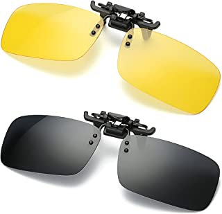 iLifeTech 2 Clip on Glasses, Sunglasses and Night Vision Driving Glasses