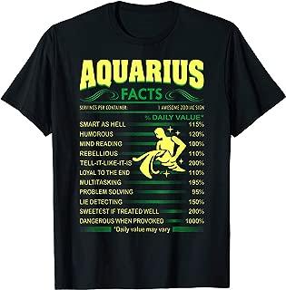 Aquarius Facts Servings Per Container Zodiac Tshirt