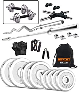 Iron Life Fitness 20 Kg Steel Weight Plates, 5 and 3 ft Rod, 2 D.Rods Home Gym Equpments Dumbbell Set
