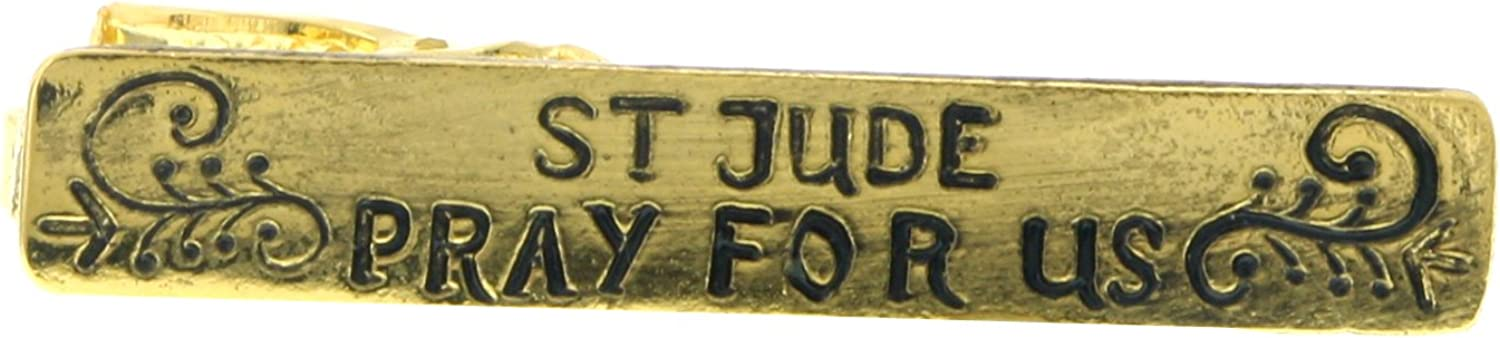 1928 Jewelry The Vatican Library Collection Gold Tone ST Jude Pray for Us Tie Clip P5041