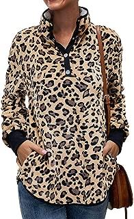 Womens Lightweight Warm Sherpa Fleece Pullover Sweatshirt Blouse Top Outwear with Pockets