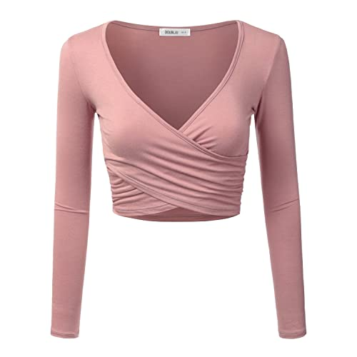 1b30c1e95f2fc CLOVERY Women s Long Sleeve Surplice Wrap Crop Top