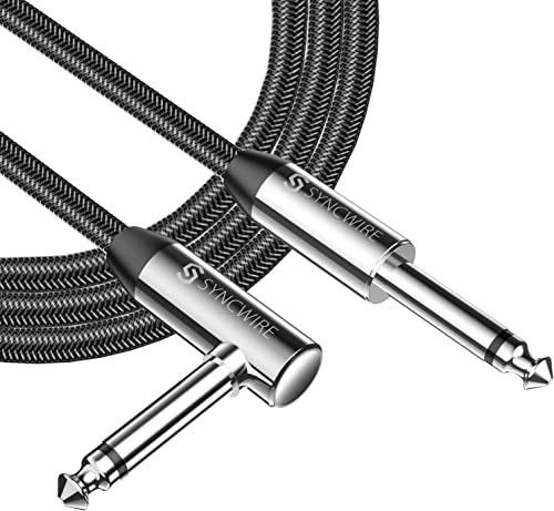 """Câble Guitare 3m Syncwire - Nylon tressé 6,35 mm (1/4"""") Droit à Angle Droit Câbles à Instruments pour Guitare électri..."""
