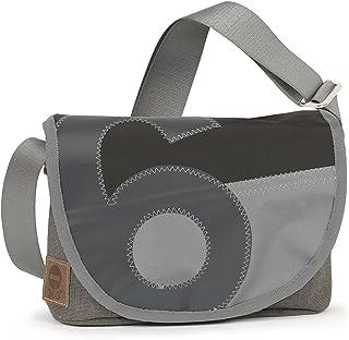 360° Grad Perle Satchel,Tweed,grauer Balken,Zahl grau,Gurt grau