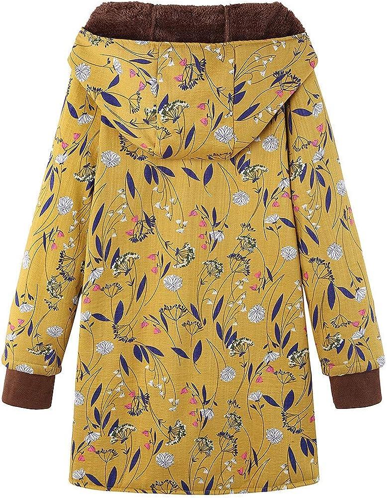 Fanxing Damen Wintermantel Jacke Warme Outwear Floral Print Hooded Taschen Vintage Oversize Mäntel Gelb2