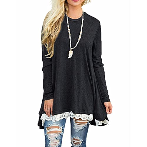 29dbe08527b GIKING Women's Vintage Long Sleeve A-line Lace Tunic Loose T-Shirt Dress