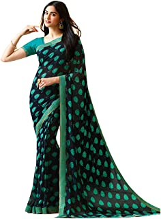 Rajeshwar Fashion With Rf Women's Georgette Printed Saree Lace Work With Blouse Piece, A20 Blue Gulab_Blue_Free Size