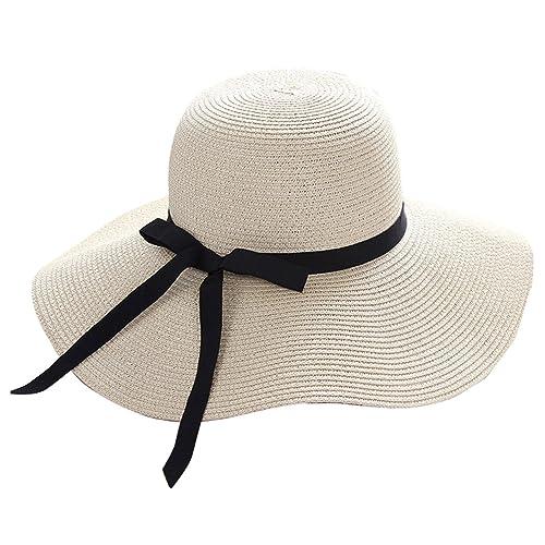 FEOYA Mujeres Sombrero del Sol Gorro de Paja Plegable Protección del Sol  con ala Grande y f3e5591fad07