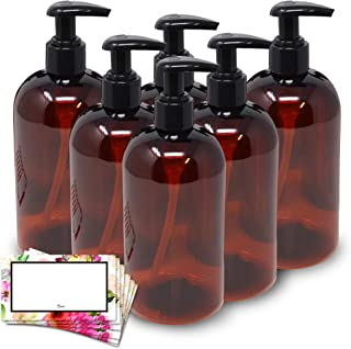 BAIRE BOTTLES -16 OZ BROWN AMBER PLASTIC REFILLABLE BOTTLES with BLACK LOTION PUMPS, ORGANIZE Soap, Shampoo, Lotion with a...