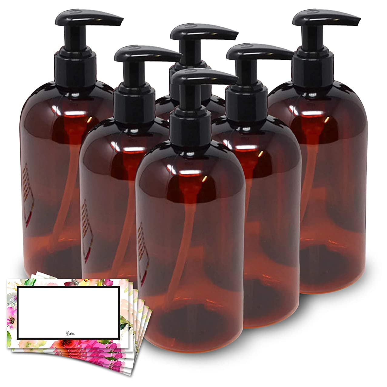 BAIRE BOTTLES - 8 OZ BROWN AMBER PLASTIC REFILLABLE BOTTLE with BLACK LOTION Pumps - ORGANIZE Soap, Shampoo and Lotion - PET, Lightweight, BPA Free - 6 Pack, BONUS 6 FLORAL LABELS