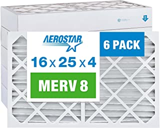 Aerostar 16 x 25 x 4 MERV 8 Pleated Air Filter, Pleated (Pack of 6)