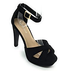 2adfcfc55d6 Top Moda Table-1 Women s peep toe platform chunky heel buckle .