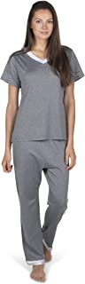 Totally Pink Two Piece Warm Womens Super-Soft Pajama Set V-Neck Sleepwear Short Sleeves Top with Pants/Shorts for Winter