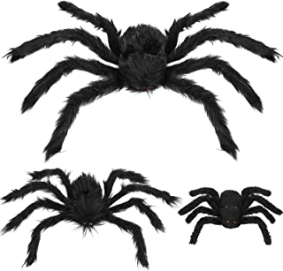 Boao Fake Giant Spider Halloween Giant Spider Large Fake Spider Halloween Spider Outdoor Decoration (3 Pieces, 23.65, 20 a...