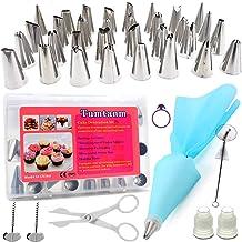 أدوات تزيين الكيك من تامنم، 32 طرف مختلف للأنابيب وحقيبة واحدة من السيليكون وأدوات زينة وملحقات الخبز للمبتدئين
