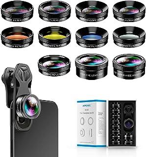 Apexel 11 in 1 Phone Camera Lens Kit - Wide Angle Lens & Macro Lens+Fisheye Lens/ND32/kaleidoscope/CPL/Color Lens Compatib...