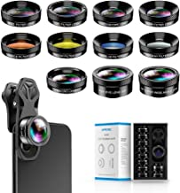 Apexel Universal Professional HD Phone Camera Lens Kit for iPhone11/XR XS, Samsung and Other Cellphones (ND32 Filter, Super Wide Angle Lens, Super Macro Lens 11 in 1 Lens kit)