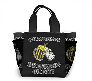 Grandpa's Drinking Buddy Women Portable Lunch Bag Tote Bags Insulated Leakproof Thermal Cooler Box for School Work Picnic