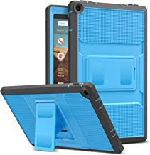 MoKo Case for All-New Fire HD 10 Tablet (7th Generation/9th Generation, 2017/2019 Release) - [Heavy Duty] Full Body Rugged Cover with Built-in Screen Protector for Fire HD 10.1 Inch, Blue & Dark Gray
