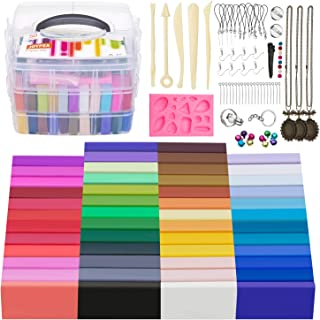 JOYPEA Polymer Clay Starter Kit,50 Colors Oven Bake Clay with 5 Modeling Tools and 68 Accessories, Safe and Nontoxic DIY B...