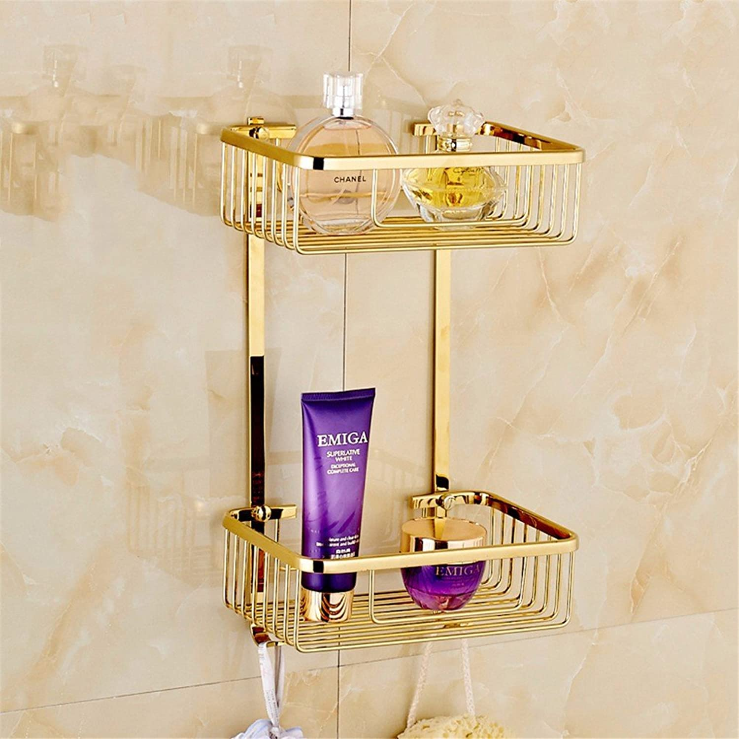 LAONA Euro-copper gold Bathroom Wall is a built-in shelf toilet paper holder Toilet brush, the built-in basket B2