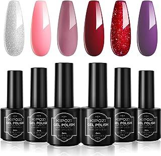 Gel Nail Polish Sets, 6 Colors Gel Polish Kit,Pink Red Purple Solid Metallic Glitters Nail Art Design Colors Home Gel Mani...