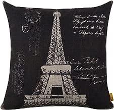LINKWELL 18x18 Retro Paris Eiffel Tower Burlap Cushion Covers Pillow Case
