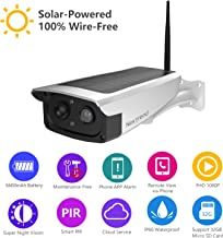 Solar Powered Outdoor Battery Security Camera, NexTrend 1080P Home Wireless WiFi IP Cam w/Build-in 6600mAh Battery, PIR Alarm Alerts, Night Vision, Two-Way Audio, Support TF Card& Cloud Service