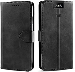 CSTM Asus Zenfone 6 ZS630KL Case, Protective Folio PU Leather Wallet Phone Shell Cover with Credit Card Slots,Cash Pocket,Stand Holder,Magnetic Closure for Asus Zenfone 6/6Z/ZS630KL 2019(Black)