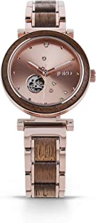 JORD Wooden Watches for Women - Cora Polaris Series Skeleton Automatic/Wood Watch Band/Wood Bezel/Self Winding Movement - Includes Paper Watch Box