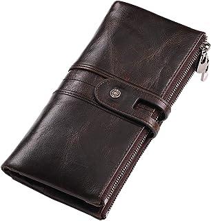 財布 メンズ 長財布 日本製 牛革 (2020年最新 本革 カード22枚収納 ポケット(小銭入れ)×2 ラウンドファスナー ) 実力工場 特許製品 ギフト包装 高級感 正規品 180日保証 (ブラウン)