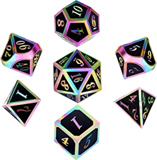 Polyhedral Metal Dices Set Zinc Alloy with Enamel Solid Metal for DND Game, Tabletop RPG, Dungeons and Dragons, Math Teaching, 7 Pieces Dice Set with Black Velvet Bag (Electrophoretic Colorful Black)