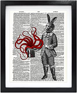 Susie Arts 8X10 Unframed Magician Bunny with Octopus Upcycled Vintage Dictionary Art Print Book Art Print Home Decor Funny Prints Wall Art V071