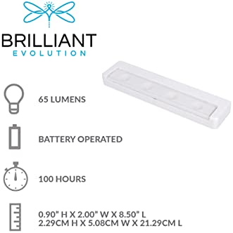 Brilliant Evolution Wireless Ultra Thin LED Light Bar 1 Pack | Battery Operated Lights | Kitchen Under Cabinet Lighti...