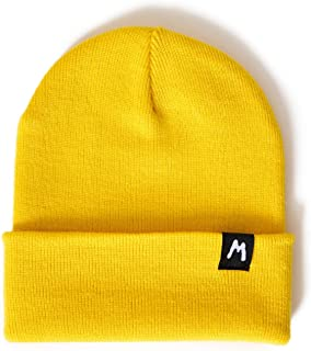 Yellow Beanie Hat Headwear Knitted Winter Ribbed Fashion Ladies Warm Grunge Retro Basic