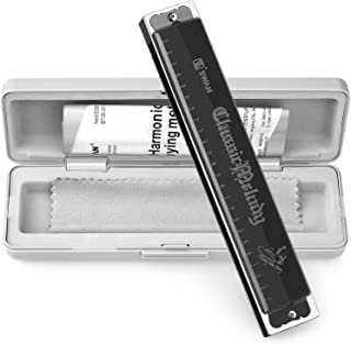 Harmonica 24 Holes Key of C with Case for Professional Player Beginner Students, Excellent Gift for Music Fan (Swan)- Bright Black, Best Music Gift