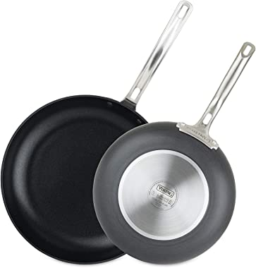 Viking Culinary Hard Anodized Nonstick Fry Set Pan, 10 Inch and 12 Inch, Gray