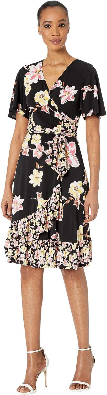 Donna Morgan Women's Plus Size Short Sleeve Knit Jersey Faux Wrap with Ruffle Hem Twin Print Dress