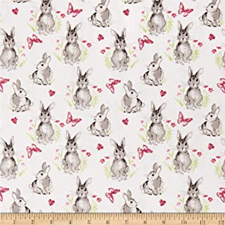 Riley Blake Designs Novelty of the Month Pretty Bunnies White Fabric Fabric by the Yard