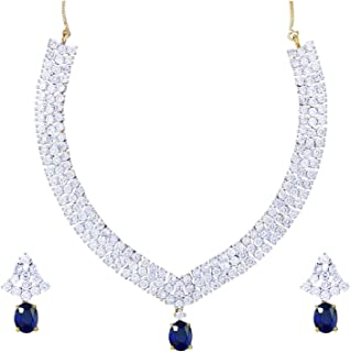 Women's Imitation Fashion Jewellery American Diamond Occasion Wear Pendent Necklace Set 5 X 5 X 5 Silver White, red, Golden