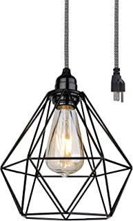 BRIGHTTIA Plug-in Swag Industrial Pendant Ceiling Light with Geometric Wire Cage Shade, 16FT Zebra Fabric Cord with in-Line Switch, Hanging Modern Chandelier, Matte Black Finish