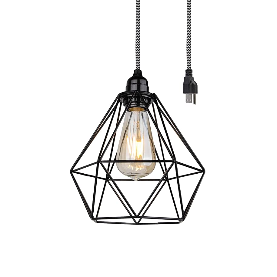 BRIGHTTIA 1-Light Plug-in Industrial Modern Pendant ? Matte Black Geometric Diamond Metal Wire Cage ? 16' Zebra Woven Fabric Cord, in-Line On/Off Switch ? Swag Shade Ready Ceiling Light ? BP0019-1CP
