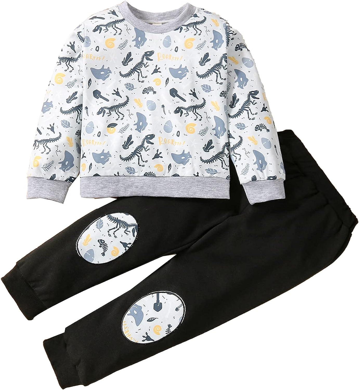 Toddler Kids Baby Boys Girls Cute Dinosaur Pullover Sweatshirt Tops Sweatpants Casual Outfit 2Pcs Set Sweatsuit