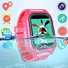 Dizzlle Boys Girls Kids Smart GPS Watch Phone for iOS Android Smartphone with Touchscreen GPS Tracker Camera SOS Pedometer (Waterproof Pink)